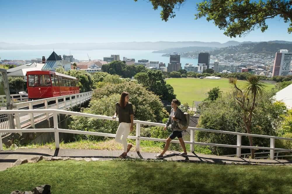 الصيف في نيوزيلندا. صورة من مدينة ويلنجتون
